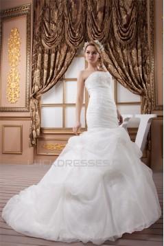 Strapless Sleeveless Satin Mermaid/Trumpet Wedding Dresses 2031008