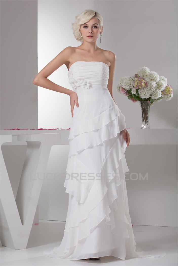 Strapless Sleeveless Sheath/Column Chiffon Wedding Dresses 2031009