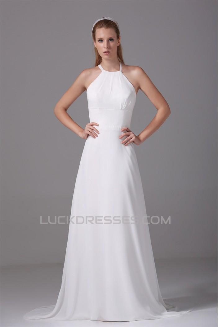 A-Line Halter Sleeveless Chiffon Wedding Dresses 2030101