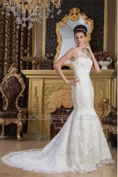 Straps Mermaid/Trumpet Sleeveless Satin Lace Beautiful Wedding Dresses 2031010