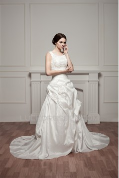 Straps Sleeveless Satin Taffeta A-Line Lace Beautiful Wedding Dresses 2031012