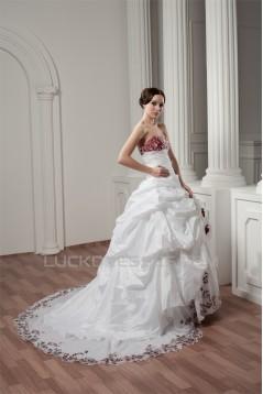 Sweetheart A-Line Satin Taffeta Sleeveless Lace Wedding Dresses 2031014