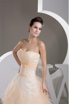 Sweetheart A-Line Sleeveless Satin Fine Netting Wedding Dresses 2031015