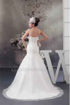 Sweetheart A-Line Sleeveless Satin Fine Netting Beaded Wedding Dresses 2031016