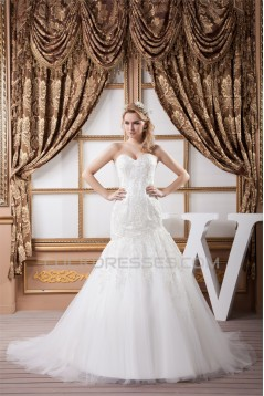 Sweetheart Sleeveless Satin Fine Netting Lace Wedding Dresses 2031017