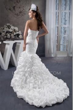 Sweetheart Mermaid/Trumpet Sleeveless Satin Taffeta Beaded Wedding Dresses 2031018