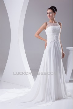 A-Line Chiffon Sweep Train Beaded Wedding Dresses 2030102