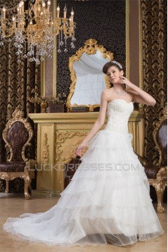 Sweetheart Satin A-Line Sleeveless Beaded Lace Wedding Dresses 2031020
