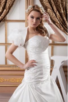 Sweetheart Short Sleeve Satin A-Line Beaded Beautiful Wedding Dresses 2031024