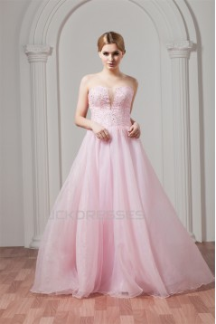 Sweetheart Sleeveless A-Line Satin Organza Beaded Pink Wedding Dresses 2031025