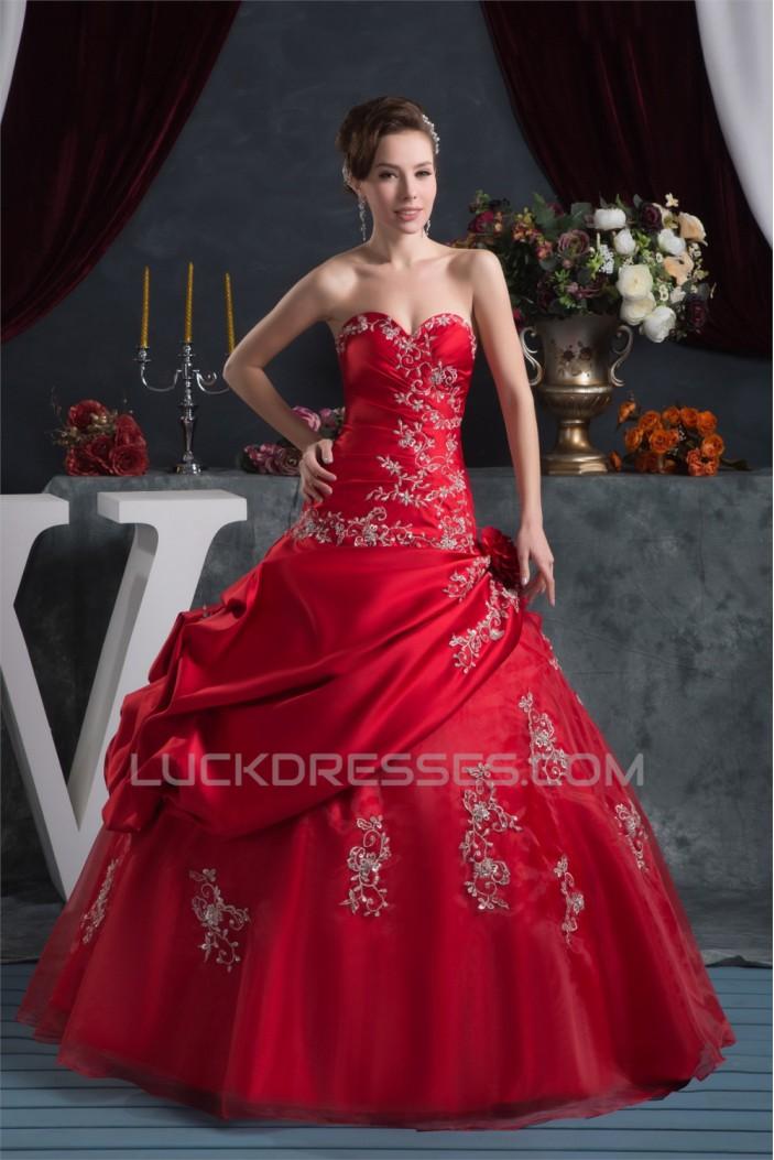 Sweetheart Sleeveless Floor-Length Ball Gown Red Wedding Dresses 2031028