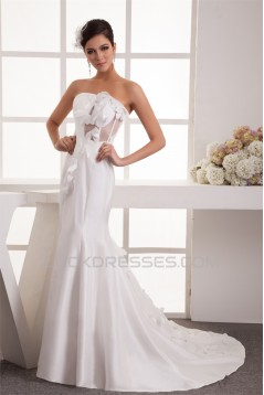 Mermaid/Trumpet Taffeta Fine Netting Strapless Wedding Dresses 2031031