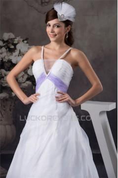 A-Line Satin Sleeveless V-Neck Beaded Wedding Dresses 2031032