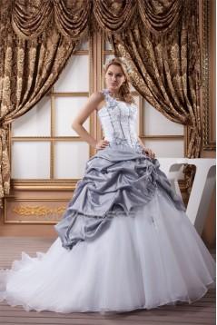 A-Line Satin Taffeta Halter Sleeveless Sweet Wedding Dresses 2031033