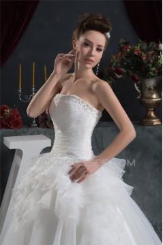 A-Line Strapless Sleeveless Beaded Applique Wedding Dresses 2031036