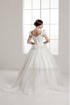 A-Line Straps Sleeveless Off-the-Shoulder Wedding Dresses 2031037