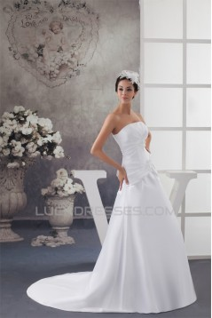 A-Line Sleeveless Strapless Wedding Dresses 2031038