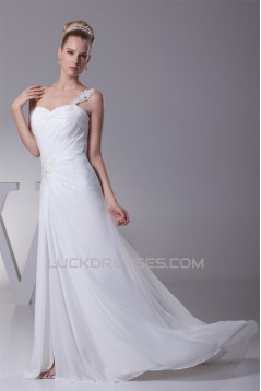 Sheath/Column Beaded Applique One-Shoulder Chiffon Wedding Dresses 2030104