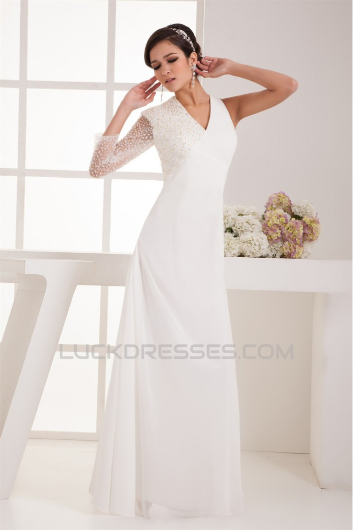 Sheath/Column V-Neck Beading One Sleeve Floor-Length Wedding Dresses 2031046