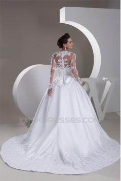 A-Line V-Neck Satin Fine Netting Long Sleeve Beaded Lace Wedding Dresses 2031047