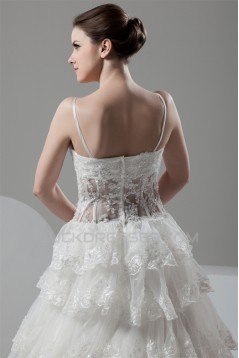 A-Line V-Neck Satin Organza Sleeveless Lace Embellished Wedding Dresses 2031048