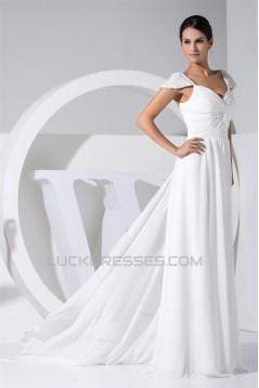 Sheath/Column Cap Sleeve Chiffon Wedding Dresses 2030105