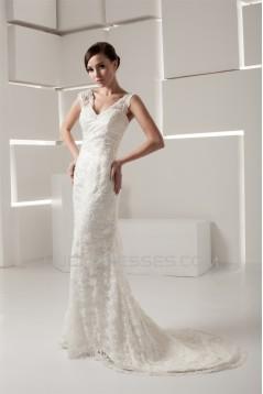 V-Neck Sleeveless Mermaid/Trumpet Satin Lace Fine Netting Wedding Dresses 2031050