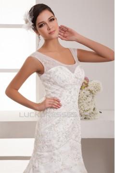 Scoop Satin Organza A-Line Wedding Dresses 2031052