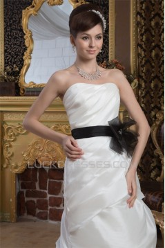 A-Line Strapless Court Train Wedding Dresses 2031054