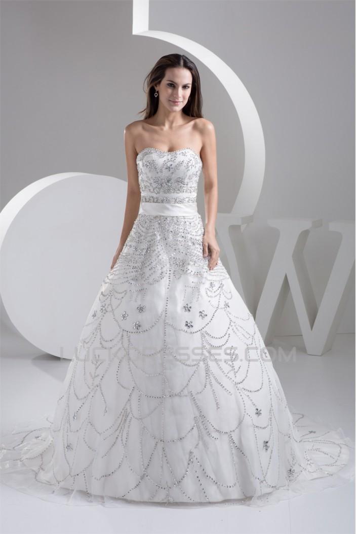 A-Line Strapless Beaded Sleeveless Wedding Dresses 2031055