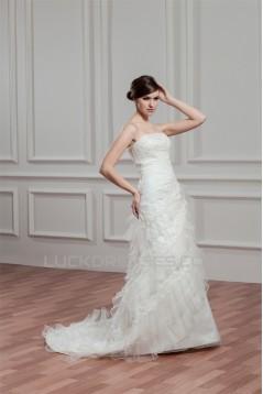 Wholesale Strapless Satin Organza Sleeveless A-Line Wedding Dresses 2031056