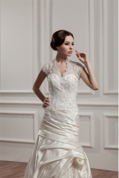 Wonderful A-Line Portrait Sleeveless V-Neck Lace Wedding Dresses 2031057