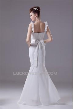 Mermaid/Trumpet Floor-Length Chiffon Sleeveless Best Wedding Dresses 2030106