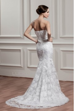 Trumpet/Mermaid Strapless Lace Court Train Beaded Wedding Dresses 2031060