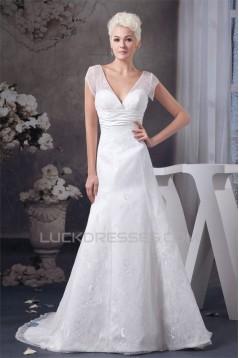 Wonderful A-Line Sleeveless V-Neck Satin Lace Wedding Dresses 2031061