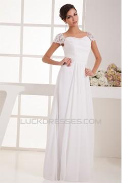 Wonderful A-Line Square Chiffon Lace Floor-Length Wedding Dresses 2031062