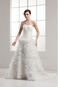Wonderful A-Line Sweetheart Satin Sleeveless Wedding Dresses 2031063