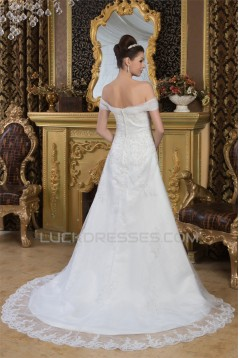 Wonderful Off-the-Shoulder A-Line Sleeveless Beaded Lace Wedding Dresses 2031065