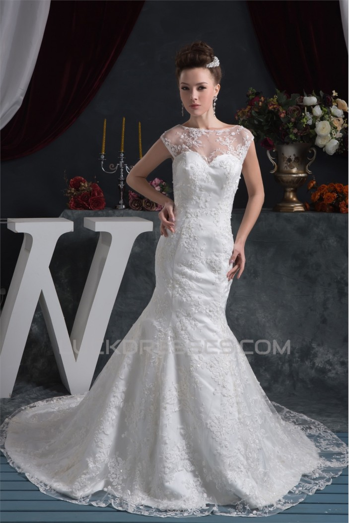 Wonderful Satin Lace Mermaid/Trumpet Wedding Dresses 2031067