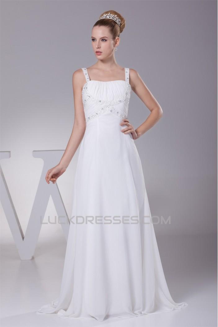 A-Line Chiffon Spaghetti Straps Beaded Wedding Dresses 2030107