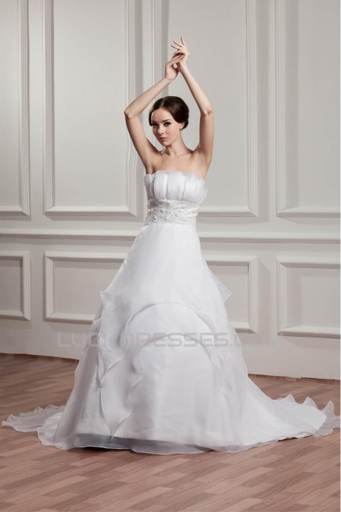 Wonderful Satin Strapless Sleeveless A-Line Beaded Wedding Dresses 2031070