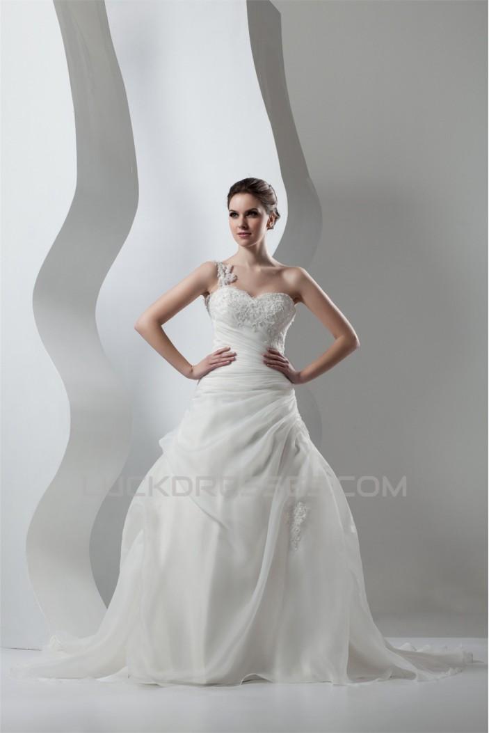 Wonderful Sleeveless A-Line One-Shoulder Satin Organza Lace Wedding Dresses 2031072