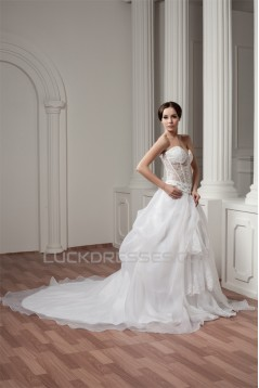 Wonderful Sleeveless Sweetheart Satin A-Line Best Wedding Dresses 2031073