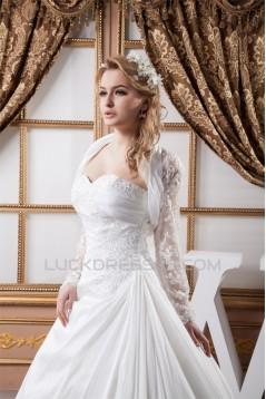 Wonderful A-Line Sweetheart Satin Lace Taffeta Wedding Dresses with A Long Sleeve Jacket 2031075
