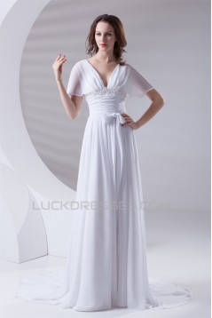 A-Line Chiffon Satin Flared Sleeves V-Neck Wedding Dresses 2031077
