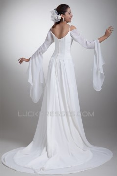 A-Line Chiffon Satin Spaghetti Straps 3/4 Length Sleeve Wedding Dresses 2031078