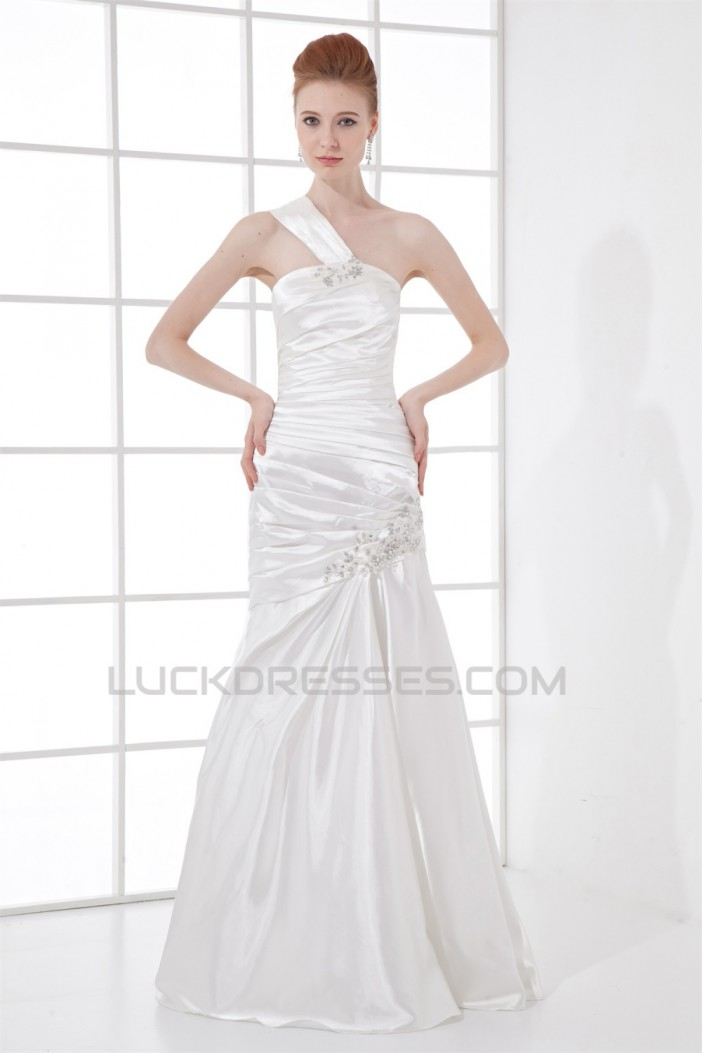 A-Line Floor-Length Sleeveless One-Shoulder Beaded Wedding Dresses 2031079