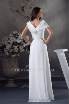 A-Line Chiffon V-Neck Floor-Length New Arrival Wedding Dresses 2030108