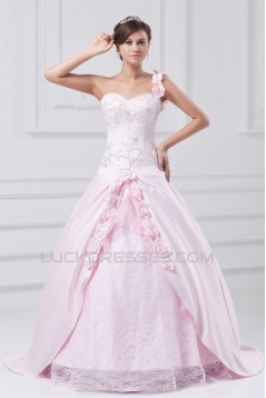 A-Line Satin Lace Sleeveless One-Shoulder Wedding Dresses with Color 2031081