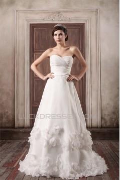 A-Line Satin Sleeveless Sweetheart Embellished Wedding Dresses 2031083